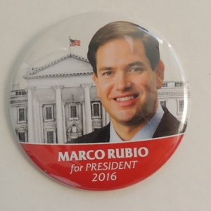 Marco Rubio for President 2016 with White House in background. White with red bottom