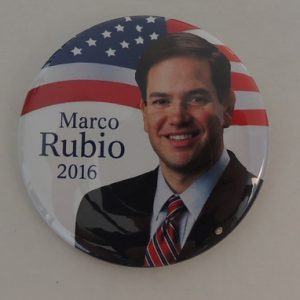Patriotic white Marco Rubio President 2016 button with US flag background