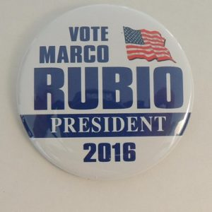 Vote Marco Rubio president 2016 white button with blue lettering