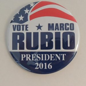 Vote Marco Rubio President 2016 patriotic campaign button with white and blue letterin