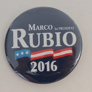 Marco Rubio for President 2016 blue campaign button with American flag banner