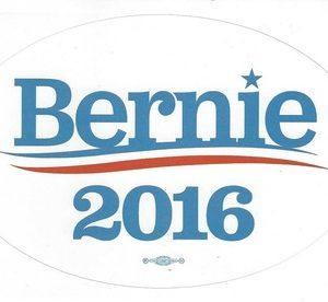 Bernie 2016 President white campaign bumper sticker with union bug