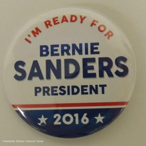 Im Ready for Bernie Sanders for President 2016 white campaign button with blue and red lettering