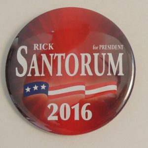 Rick Santorum for President 2016. Beautiful red campaign button with flag banner