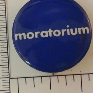 Blue and White Moratorium special interest button