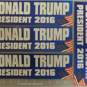 Trump Complete Set of 4 Bumper Stickers 11 inch with flag