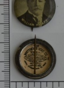 William H. Taft 7/8 inch celluloid campaign button with original back paper
