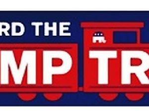 All Aboard the Trump Train Campaign Bumper Sticker