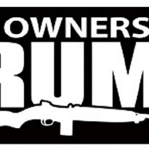 Black and White Gun Owners for Trump Bumper Sticker that measures 3.5 x 8.5 inch rectangle