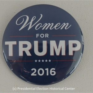 Women for Trump 2016 (blue). Measures 2.25 inches