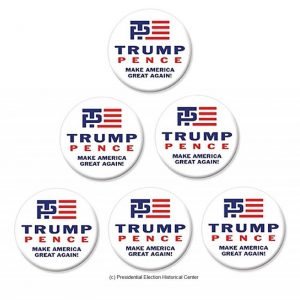 6 Pack Set Campaign Buttons - Trump and Pence