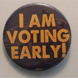 I am Voting Early! with Univ. of Northern Iowa panther logo in background.
