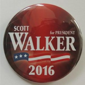 Scott Walker for President Red 2016 campaign button American Flag banner