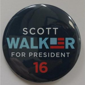 Scott Walker for President 16 blue campaign button with blue and red lettering