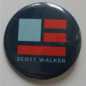 Scott Walker blue campaign button with flag logo