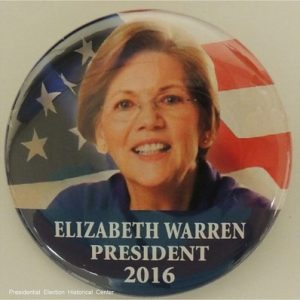 Elizabeth Warren President 2016 face photo on top of US Flag campaign button