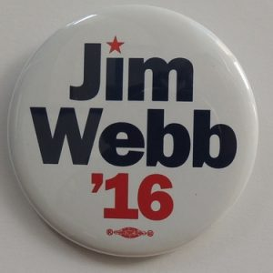 Jim Webb white campaign button with blue and red letters