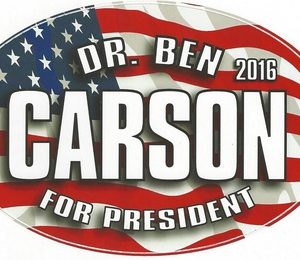 Ben Carson For President 2016 patriotic campaign bumper sticker. Measures 6-1/2 inches by 4 inches