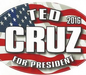 Ted Cruz For President 2016 patriotic campaign bumper sticker. Measures 6-1/2 inches by 4 inches