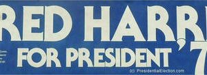 1976 Official Fred Harris For President '76 Campaign Bumper Sticker Blue with White Letters -   Near Mint Condition and looks as if they were printed last week / Stored perfectly in smoke free environment since 1976