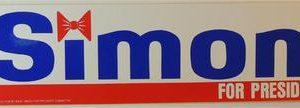 Simon for President Bumper Sticker - Condition: Very Good