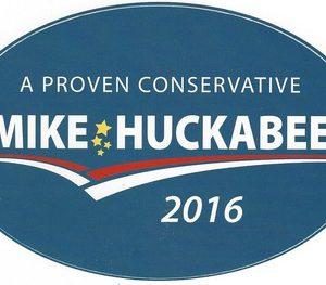 A Proven Conservative blue Mike Huckabee 2016 oval bumper sticker