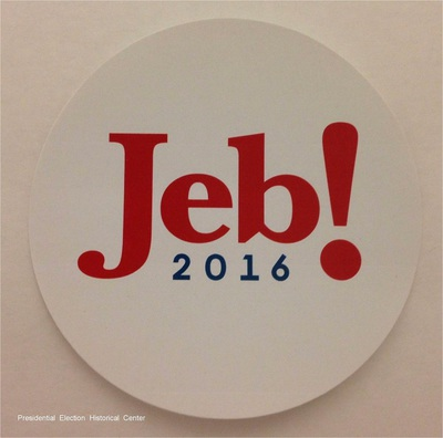 Jeb! 2016 white with red and blue letters campaign bumper sticker