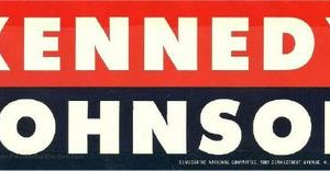 "1960 Original Kennedy Johnson 3 1/4"" x 8 1/4"" Democratic National Committee Issued bumper sticker in excellent condition"