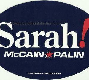 Sarah McCain-Palin 2008 Bumper Sticker. Excellent Condition