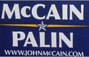 McCain / Palin Blue 2008 Bumper Sticker. Excellent Condition