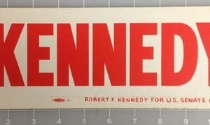 Kennedy Robert F. Kennedy For US Senate Comm Bumper Sticker