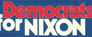 1972 Democrats for Nixon Campaign Bumper Sticker. Excellent Condition