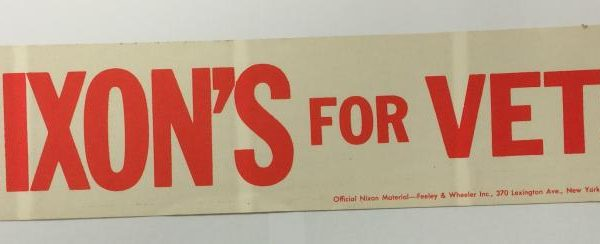Nixons for Vets red and white bumper sticker