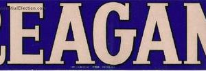 1980's vintage Reagan Bumper Sticker in Blue and off white. Very Rare