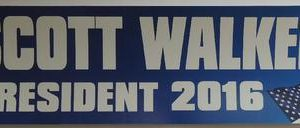 Scott Walker President 2016 blue bumper sticker with white lettering and flag. Measures 3.5� by 11� inches