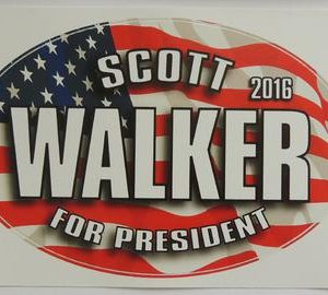 Scott Walker for President 2016 patriotic oval bumper sticker. Measures 6.5� by 4� inches