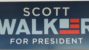 Scott Walker for President blue bumper sticker with flag logo