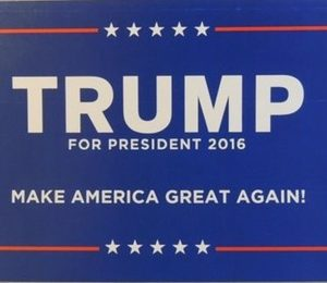 Trump For President 2016 Make America Great Again! (Smaller size) Blue bumper sticker with white lettering