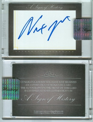 A Sign of History Newt Gingrich signed auto cut signature card (Original)