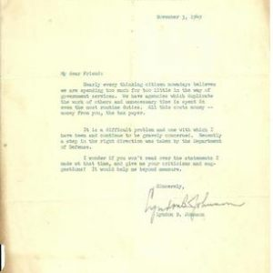 This Lyndon B. Johnson historical document from November 3