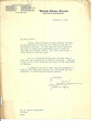 This Lyndon B. Johnson historical document from November 3