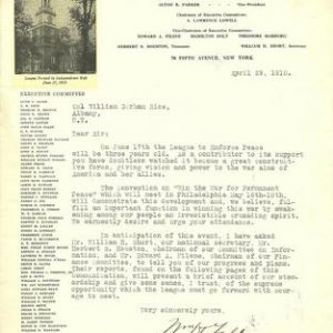 William H. Taft Signed Letter 1918 League to Enforce Peace