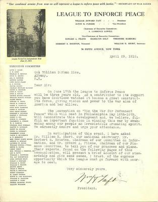 William H. Taft Signed Letter 1918 League to Enforce Peace