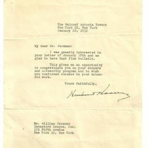 President Herbert Hoover Signature - Herbert Hoover typed letter signed upon his personal stationery