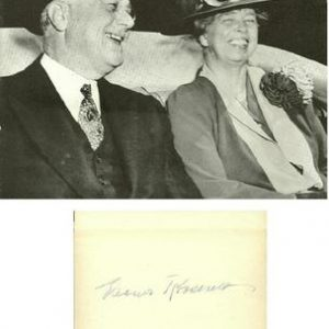 Eleanor Roosevelt Authentic Signature with Franklin in car