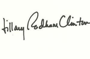 Hillary Rodham Clinton Authentic Signature on card