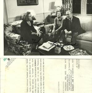 President Gerald Ford and Betty Ford with Barbara Walters Interview Authentic Signature on Photo