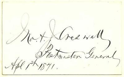 John Creswell 1871 Authentic Signature