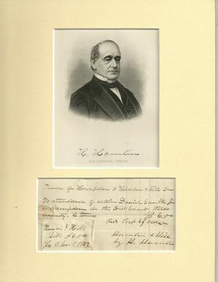 VP 1842 Hannibel Hamlin Authentic Signature