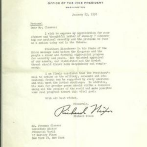 Vice President Richard Nixon 1958 Authentic Signature